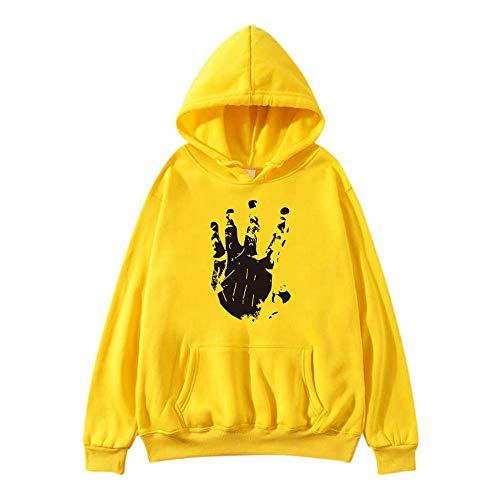YEBIRAL Damen Kapuzenpullover Herbst Hoodies Mode Casual Pullover Langarm Sweatshirt mit Kapuze(S,Gelb)