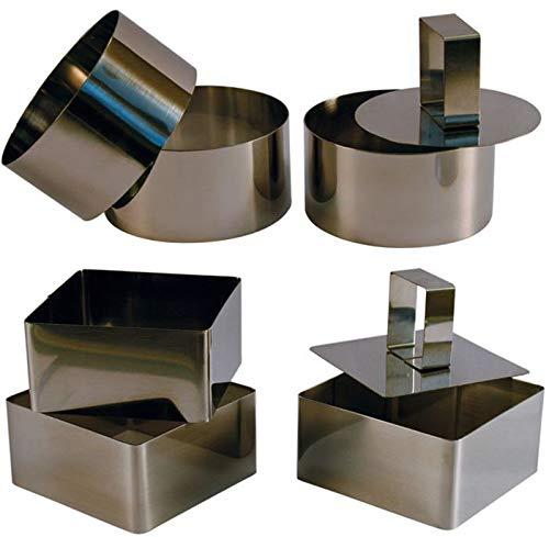 3 grands Cercles de présentation Inox avec poussoir + 3 grands Carrés de présentation Inox avec poussoir - 10 CM