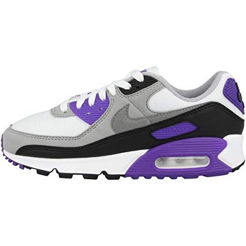 Nike Damen W Air Max 90 Laufschuh, White/Particle Grey-Hyper Grape-Black, 39 EU