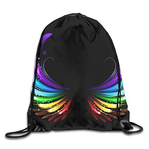 LREFON Mochila con cordón para gimnasio, mochila con alas de arcoíris, mochila para almacenamiento de viaje, organizador de zapatos, ahorro de compras, estudiante