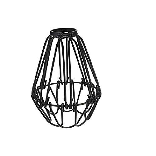 Pantalla de Jaula de Alambre de Metal. Protector de lámpara Ajustable. Accesorios de luz para Jaula de pájaros de Metal Retro Industrial. Creativo Colgante de Metal Jaula de Alambre Antiguo (Negro)
