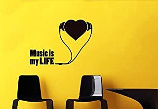 CreativeWallDecals Wall Decal Sticker Music is My Life Heart Love Style Art Energy Studio v58