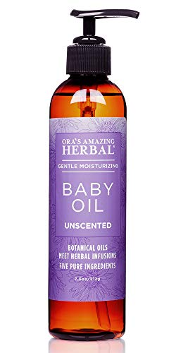 Moisturizing Baby Massage Oil With Organic Calendula and Jojoba, Fragrance Free Baby Oil for Skin and Hair, Cradle Cap, Baby Acne, Unscented, Mother Owned Business, Ora's Amazing Herbal