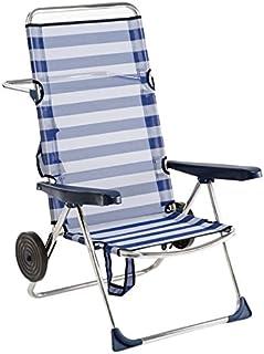 Alco 670ALFRD-0056 Silla Playa Alta, fibreline, con Rueda, Rayas Azules Y Blancas, 96x69.5x14 cm