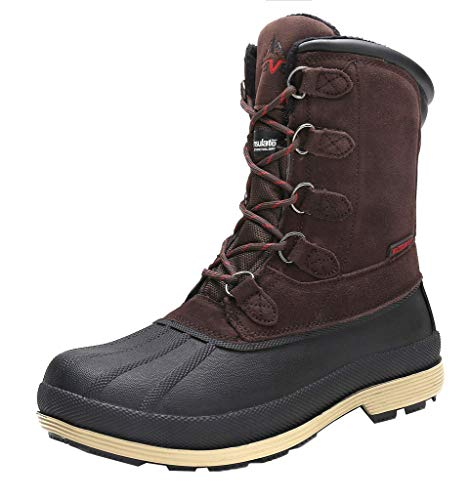 NORTIV 8 Men's 170390-M Dk.Brown Black Insulated Waterproof Work Snow Boots Size 12 M US