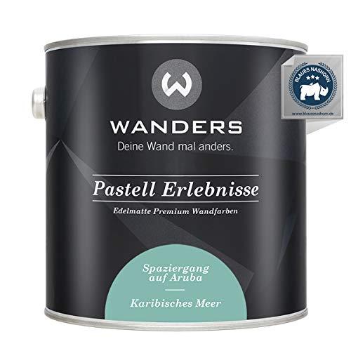 Wanders24® Pastell Erlebnisse (2,5 Liter, Karibisches Meer) edelmatte Wandfarbe - Feine Farben - in 40 Farbtönen - Wandfarbe Grau - Made in Germany