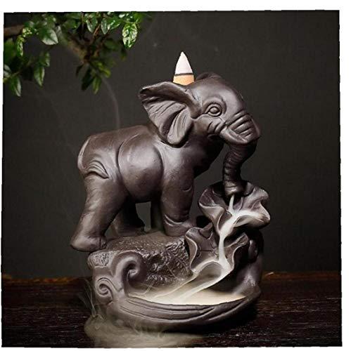 LAVALINK Backflow Censer Ceramic Elephant Waterfall Incense Holder Flow Back Sandalwood Smoking Burner Aromatherapy Decorations