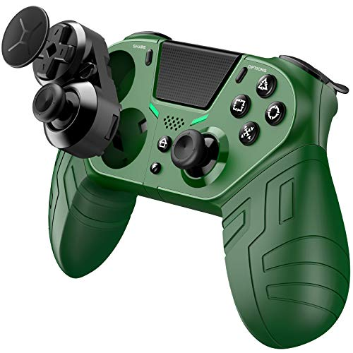 Wireless Controller for PS4, PS4 Controller Customizable Controller Remote with Programmable Rear Buttons, Turbo and Audio Function, Gamepad Joystick Controller for PS4/PS4 Pro/PS Slime - Green