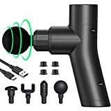 Mini Massage Gun Deep Tissue Percussion Muscle Massage Gun, USB Rechargeable Handheld Electric Massager Relive Sore Muscle and Stiffness Super Quiet Portable Massager Gun with 4 Massage Heads(Black)
