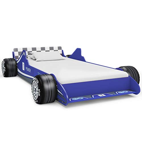 FAMIROSA Cama con Forma de Coche de Carreras para niños 90x200 cm Azul