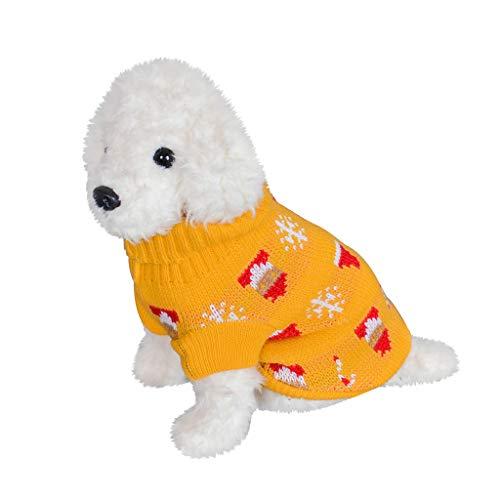 Yowablo Haustier Hund Katze Winter Warm Rollkragenpullover Weihnachten Pullover Kostüm Kleidung (XL,2- Gelb)