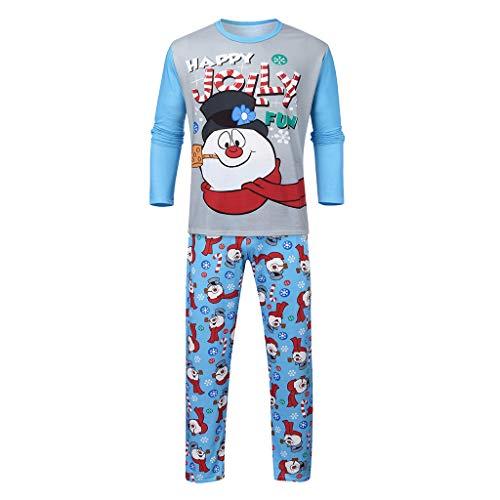 Balock Weihnachten Schlafanzug Familie Nachtwäsche Mutter Vater Kinder Mädchen Winter Pyjamas Outfit Santa Nachthemd Hose Schneemann Lang Sleepwear Anzug Festliche Homewear (Dad, 3XL)