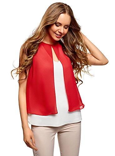 oodji Ultra Mujer Blusa de Dos Colores de Varias Capas, Rojo, ES 42 / L