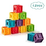 Soft Baby Blocks (Set of 12), Kingtree Squeeze Building Blocks for Toddlers, Colorful