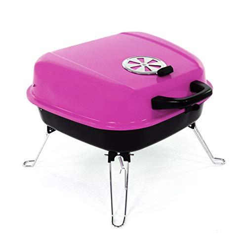 Nexos Mini Koffer-Grill Holzkohlegrill für Garten Terrasse Camping Festival Picknick Party BBQ Barbecue ca. 34 x 36 cm Grillfläche pink