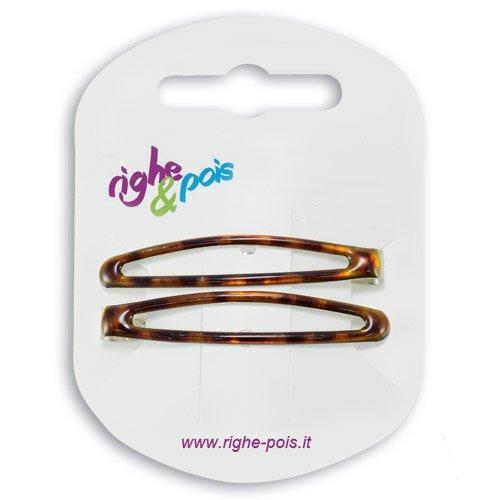 K105 003 – Pinces clic clac cm 5 en métal revêtement Tortue Lot de 2 pièces – Pinces pour Cheveux