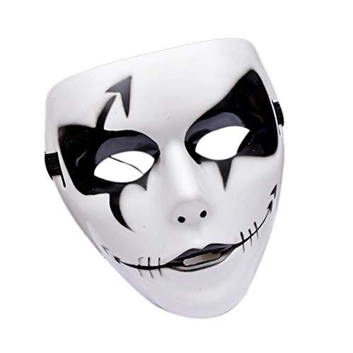 Mscara de terror para Halloween, disfraz de terror, de plstico, para fiestas de disfraces, para fiestas (blanco, 6)