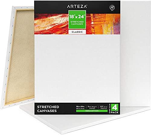 ARTEZA Lienzo para pintar cuadros | 45x70 cm | Pack de 4 | 100% algodón | Lienzos en blanco pre-estirados para acrílico, óleo, y medios húmedos | Ideales para artistas profesionales y aficionados