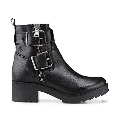 Another A Damen Plateau Stiefeletten, Schwarze Biker Stiefel aus Leder mit Zipper und Schnallen Schwarz Leder 39