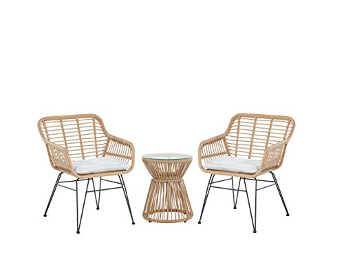 Beliani Modern Outdoor Rattan Bistro Set 2 Chairs with Cushions Round Table Trestina
