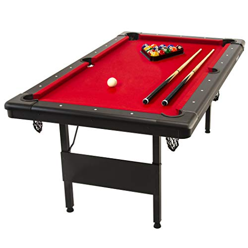 GoSports 6' Billiards Table | Portable Pool Table | Includes Full Set of Balls, 2 Cue Sticks, Chalk, and Felt Brush