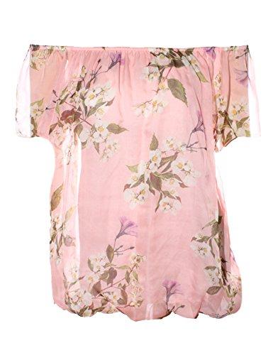 Moda Italy Romantische Bluse Tunika im Carmen Look mit zarten Blüten (Coralle)