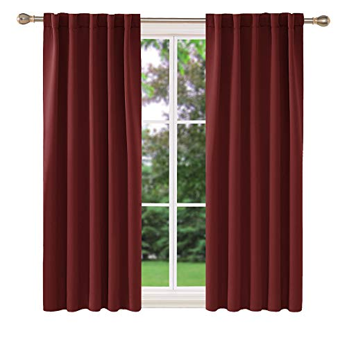 Deconovo Short Thermal Insulated Drapes and Curtains Back Tab and Rod Pocket Blackout Curtains for Kids Bedroom 42x54 Inch Burgundy Red 2 Panels