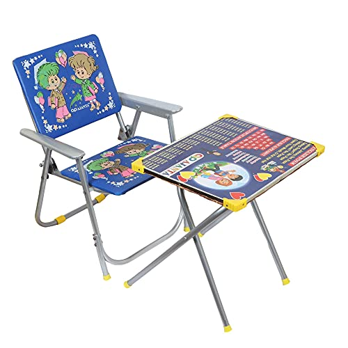 Babyjoys Kid's Metal Frame Study Table and Chair Combo Set (Blue)