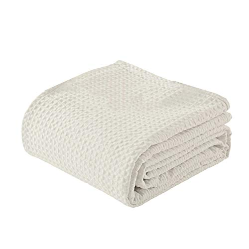 Woven Cotton Blankets King/California King Size Super Soft Breathable, 100% Cotton Throw Blanket and...
