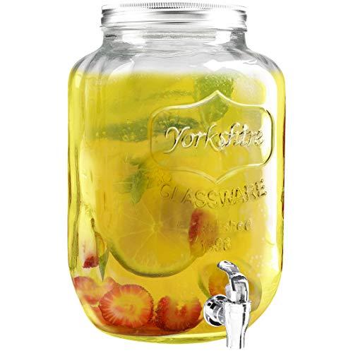 Zoomyo Getränkespender mit Zapfhahn, Retro-Design, aus dickwandigem Glas, für bis zu 8 Liter Wasser, Limonade, Eistee etc, inkl. Booklet Sommerdrinks – selbst gemacht von GU