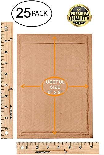 Natural Kraft Bubble mailers 25 Pack 6x9 Padded Envelopes 6 x 9 Brown Cushion mailers. Kraft Paper mailing envelopes with Peel-N-Seel. Bubble Shipping Bags. Wholesale Price. Photo #6