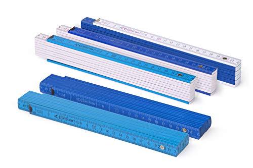 Metrie™ BL52 Zollstock/Zollstöcke | Gliedermaßstab | Maßstab - 2m - duplex (5x Block52-5x Blau/Weiß)