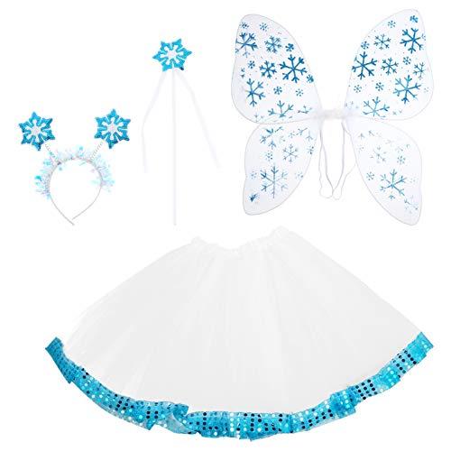 VALICLUD 4 Unids/Set Disfraz de Hada de Princesa para Nias Pequeas Traje de Ala de Mariposas de Copo de Nieve de Navidad con Varita Y Diadema para Nias Vestido de Baile de Ballet