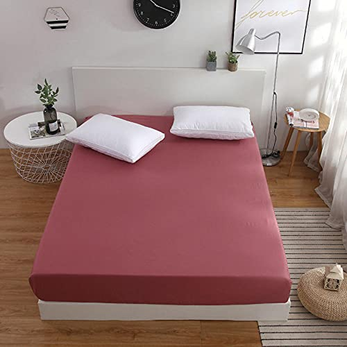 CYYyang Protector de colchón Transpirable.Rizo Bambú. Sábana de Color sólido de una Pieza Pasta de Frijol Antideslizante Color_120x200cm