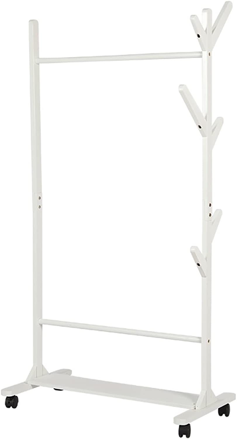 Clothes Stand Bedroom Drying Wood shoes Rack Coat Racks (color   B)