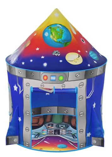 Rocket Ship Kids Play Tent | Unique Space and Planet Design Tent for Boys and Girls | Indoor and Outdoor Imaginative Activities, Games & Gift