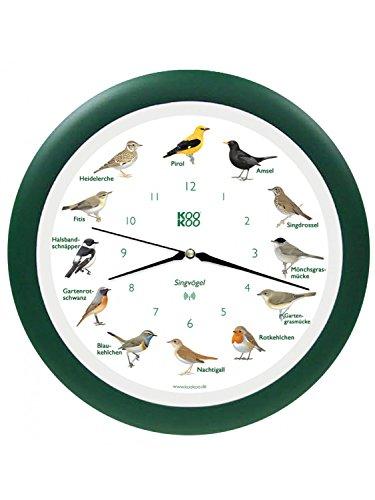 KooKoo - Die singende Vogeluhr, Wanduhr Singvögel mit RC Funkquarzwerk grün