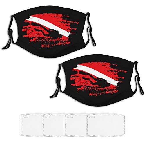 Scuba Diving Red Flag 2 Piece Face Mask Set Plus 4 Replaceable Air Filters Adjustable Washable Reusable Black Cloth For Adults Men Women Kids Bandana Scarf Gaiters Design