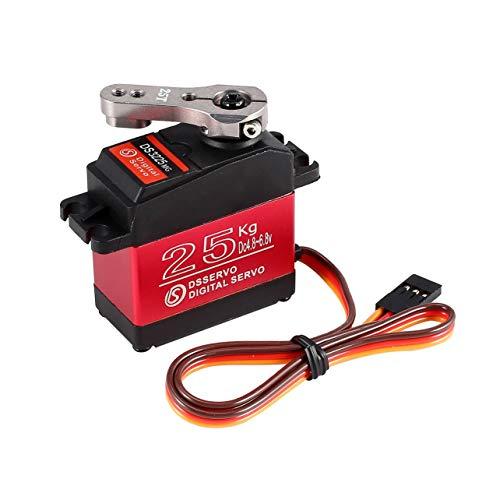 WOSOSYEYO DS3225 25kg Lenkung Metallzahnrad-Digital wasserdichte Servo für RC Crawler Truck Auto-Boots-Flugzeug-Hubschrauber-Roboter-Ersatzteile (Farbe: Black & red)