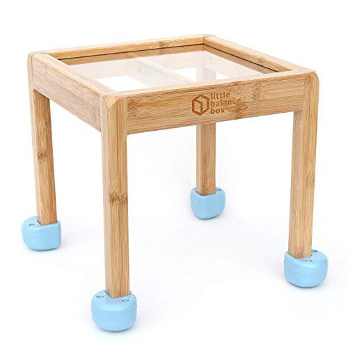 Little Balance Box 2-in-1: No Wheels Spring Feet, Girl Boy Baby Walker Push Stand Toys, Toddler Activity Table, Award Winning (Blue)