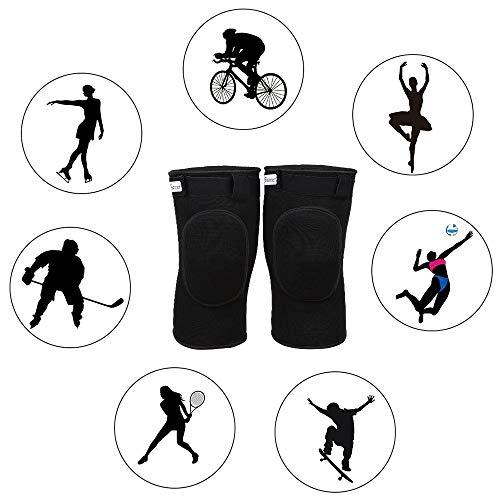 Bezioner Protective Knee Pads Dance Thick Sponge Anti-Slip Collision Avoidance Knee Sleeve for Kids and Adults (Black, M (50-65 kg))