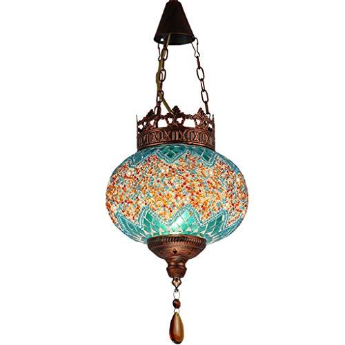 Lámparas Colgantes Europeas, Candelabro De Mosaico De Turquía, Lámpara Colgante De Vitrales Led, Sala De Estar De Hierro Forjado, Decoración De Restaurante, Lámpara Colgante De Techo, Hogar Azul
