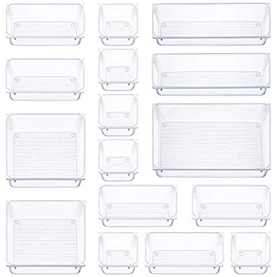 16 Pcs Drawer Organizer Set Dresser Desk Drawer Dividers - 5 Size Bathroom Vanity Cosmetic Makeup Trays - Multipurpose Clear Plastic Storage Bins for Jewelries, Kitchen Gadgets and Office Accessories