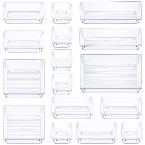 16 Pcs Drawer Organizer Set Dresser Desk Drawer Dividers - 5 Size Bathroom Vanity Cosmetic Makeup Trays - Multipurpose Clear Plastic Storage Bins for Jewelries Kitchen Gadgets and Office Accessories