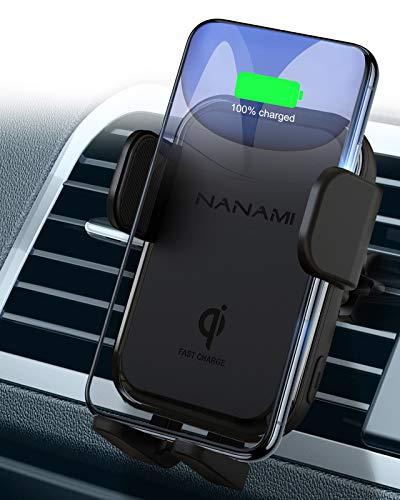 「2021最新バージョン」NANAMI ワイヤレス充電器 車載 自動車 スマホホルダー Qi急速 7.5W/10W高速充電 自動開閉 360度回転 エアコン吹き出し口取付け クリップ強化 iPhone 12/12 Pro/12 Mini/SE (第2世代) /11/11 Pro /11 Pro Max X XR XS/XS Max 8/8 Plus、Galaxy S20/S10/S10+ S9/S9 Plus Note9 Note8 S8、Xperia 1Ⅱ / XZ3 Pixel など Qi規格機種ほとんど対応 ブラック