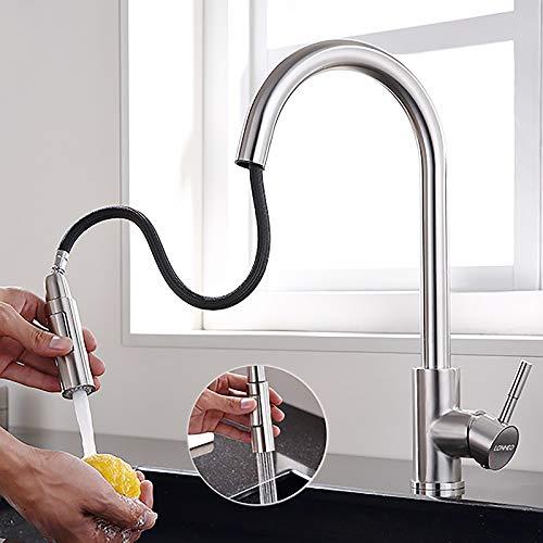 Lonheo Edelstahl Wasserhahn Küche ausziehbar mit 2 Strahlarten 360° drehbar Hochdruck Küchenarmatur (hoher Komfort-Auslauf 204mm) Einhebelmischer Armatur Küche Spültischarmatur Mischbatterie