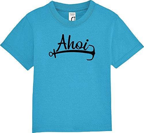 Kleckerliese Baby Kinder T-Shirt Kurzarm Sprüche Jungen Mädchen Shirt Nicki mit Aufdruck AHOI Anker Meer Heimat, Aqua, 12-18 Monate