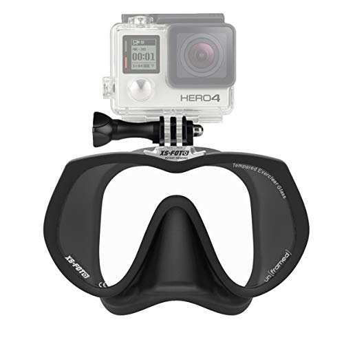 Frameless Diving Mask for GoPro (Black Silicone) - NEW - Real Frameless - Built-in Stainless Steel Camera Mount - Includes Neoprene Strap & Mounting Screw - GoMask - un[framed] by XS Foto