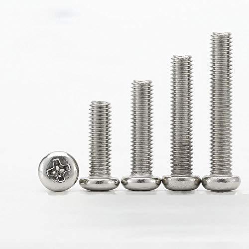 M5 Pan Head Phillips Machine Screws Round Head Cross Bolts Carbon Steel White Zinc Plated Length 6-30mm