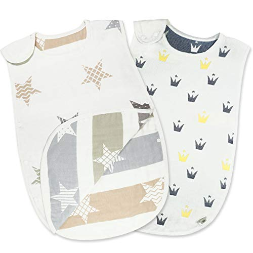 YUUHINN スリーパー ベビー 赤ちゃん 寝袋 6重ガーゼ 女の子 男の子 オーガニックコットン100% 柔らかく ...